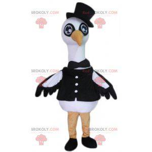 Large black and white bird stork swan mascot - Redbrokoly.com
