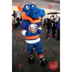 Obří modrý a oranžový drak maskot ve sportovním oblečení -