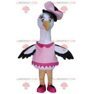 Grote zwart-witte vogel mascotte ooievaar zwaan - Redbrokoly.com