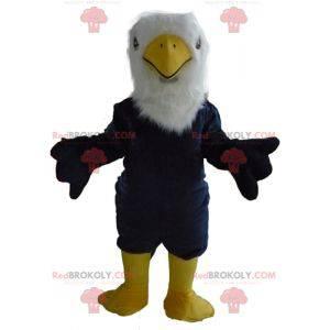 Maskottchen großen blauen weißen und gelben Adler alle haarig -