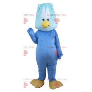 Mascote pássaro gigante e engraçado de pintinho azul -