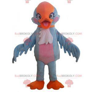 Muito bonito mascote pássaro azul laranja e rosa -