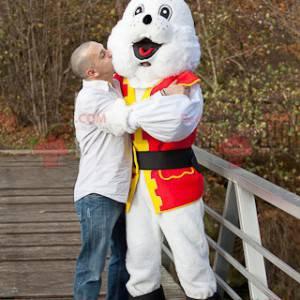 Maskot bílý králík v kostýmu piráta - Redbrokoly.com