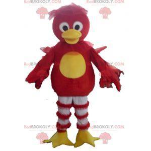 Mascotte rood geel en wit eend vogel - Redbrokoly.com