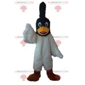 Mascota de pájaro blanco y negro con una cresta en la cabeza. -