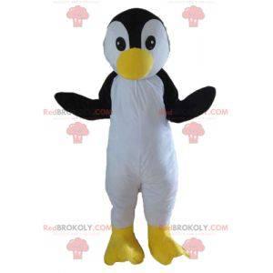 Mascotte uccello bianco e giallo nero del pinguino -