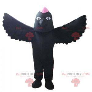 Mascotte zwarte vogel met een roze kuif op het hoofd -