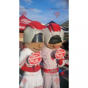 2 maskoti dívky a chlapce ve futuristickém oblečení -