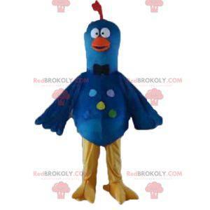 Mascota de pájaro paloma azul amarillo y naranja -