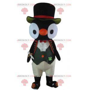 Maskot sova černá a bílá sova v kostýmu - Redbrokoly.com