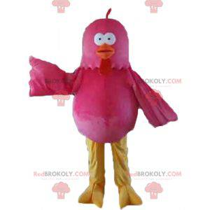 Galinha gigante mascote pássaro rosa vermelha e amarela -