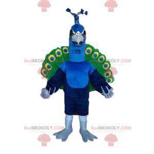 Riesenpfauenmaskottchen blau grün und gelb - Redbrokoly.com