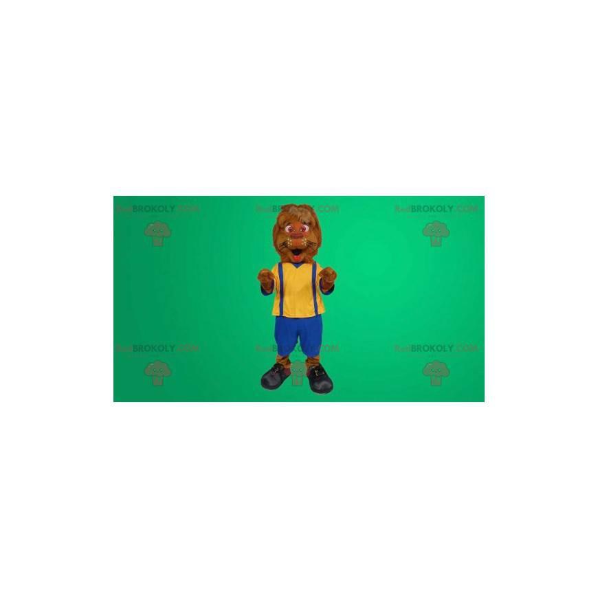 Lion mascot overalls - Redbrokoly.com
