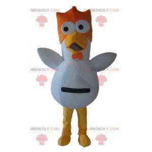 Gallo gallina arancione e giallo mascotte uccello bianco -