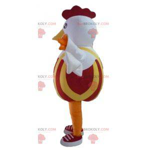 Red and yellow white hen rooster mascot - Redbrokoly.com