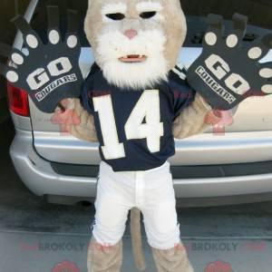 beige und weißer Tiger Maskottchen in Sportbekleidung -
