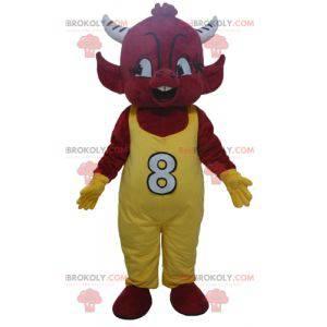 Red Imp Devil Maskottchen in gelben Overalls - Redbrokoly.com