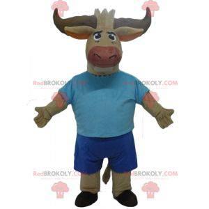 Brown Bull Büffel Maskottchen in blau gekleidet - Redbrokoly.com