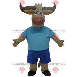 Brown bull buffalo mascot dressed in blue - Redbrokoly.com