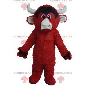 Maskot červená černá a bílá kráva všechny chlupaté -