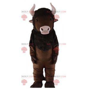 Hnědý bizon maskot s růžovými rohy - Redbrokoly.com