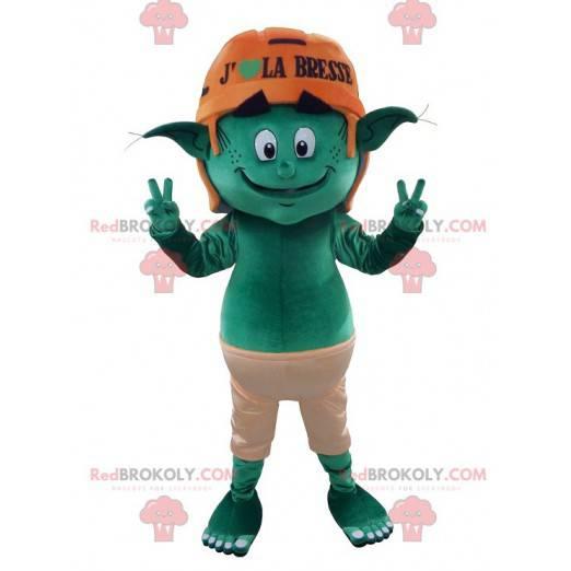 Green leprechaun elf mascot - Redbrokoly.com