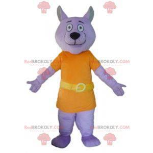 Maskotka fioletowy wilk ubrany w pomarańczowy kostium -