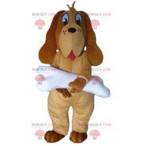 Brown dog mascot with a giant white bone - Redbrokoly.com