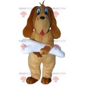 Brun hundemaskot med et gigantisk hvitt bein - Redbrokoly.com