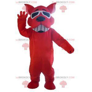 Rød, hund, maskot, smiling, med, sunglasses - Redbrokoly.com