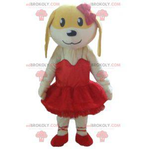 Bílý a žlutý pes maskot v červených šatech - Redbrokoly.com