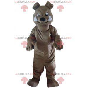Szara maskotka psa buldoga wyglądająca groźnie - Redbrokoly.com