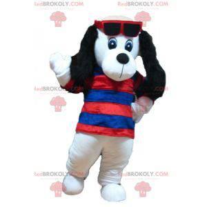 Bílý a černý psí maskot s pruhovaným svetrem - Redbrokoly.com