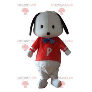 Small black and white dog mascot with a red t-shirt -