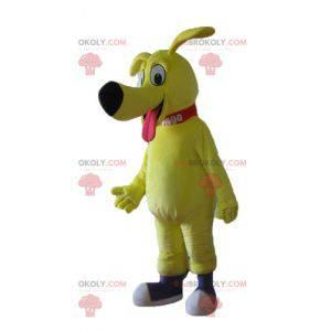 Velmi roztomilý a dojemný velký žlutý pes maskot -