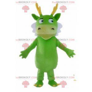 Zelený drak maskot bílé a žlutozelené stvoření - Redbrokoly.com