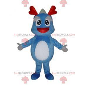 Obří drak modrý a šedý maskot dinosaura - Redbrokoly.com