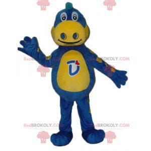 Blaues und gelbes Drachenmaskottchen Danone - Mascotte Gervais