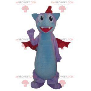 Blue and red pink bat dragon mascot - Redbrokoly.com