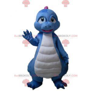 Maskottchen des blauen weißen und rosa Drachendinosauriers -