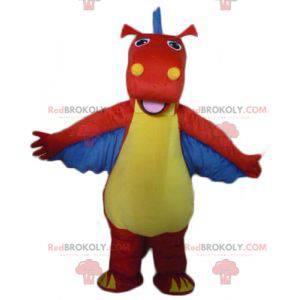 Červený, žlutý a modrý drak maskot dinosaura - Redbrokoly.com