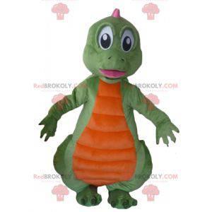 Oransje og rosa grønn dinosaur maskot - Redbrokoly.com