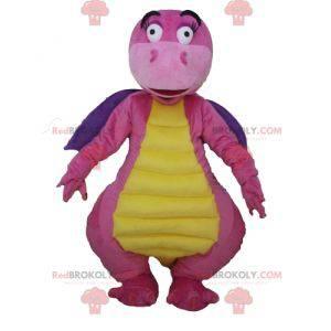 Atraktivní a barevný růžový fialový a žlutý drak maskot -
