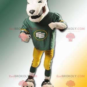 Mascot beige bear looking fierce and in sportswear -
