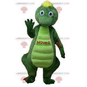 Green and yellow dinosaur crocodile mascot - Redbrokoly.com