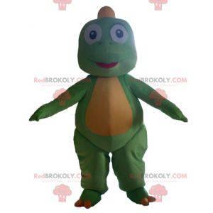 Søt og rørende grønn og gul dinosaur maskot - Redbrokoly.com