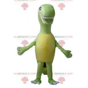 Tyrex Maskottchen Riesen grüner und gelber Dinosaurier -