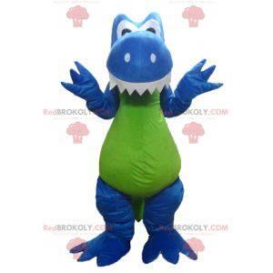 Maskottchen des blauen weißen und grünen Drachendinosauriers -