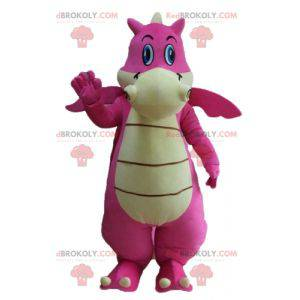 Giant and attractive pink and white dragon mascot -