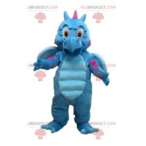 Roztomilý a barevný modrý a růžový maskot draka - Redbrokoly.com